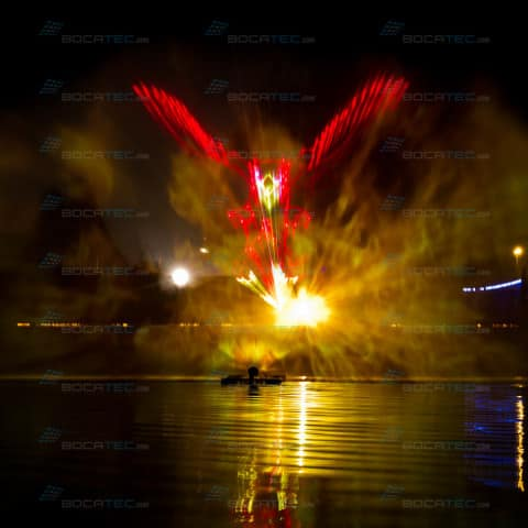 Lasergrafik auf Wasserleinwand