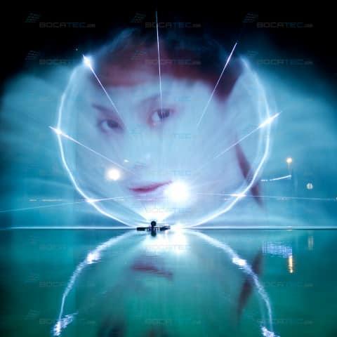 Laser & Videoprojektion auf Wasserschild