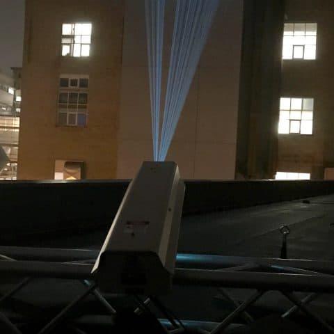 laserprojektion auf gebäude