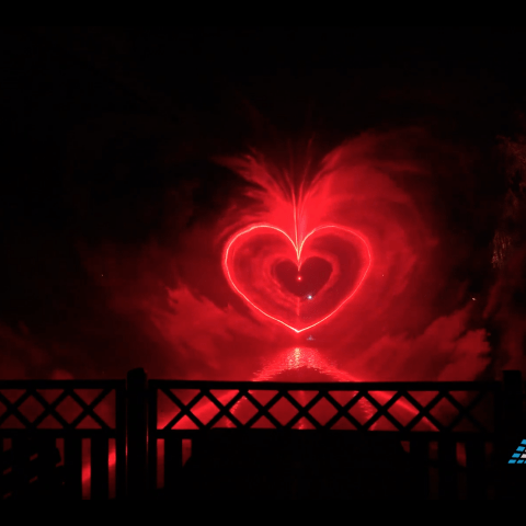 Herz aus Laserstrahlen