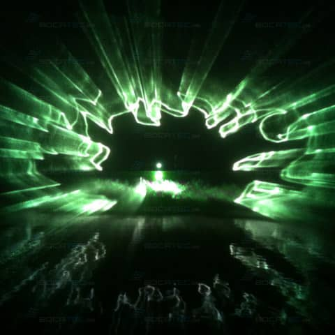 Wasserprojektion durch Laserstrahlen
