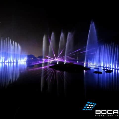 Wasserfontänen mit LED-Beleuchtung