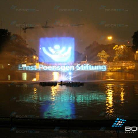 Videoprojektion auf Wasserleinwand