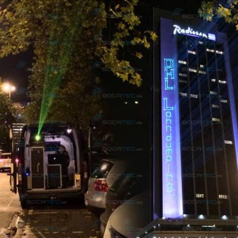 Laserschriftzüge an Fassade