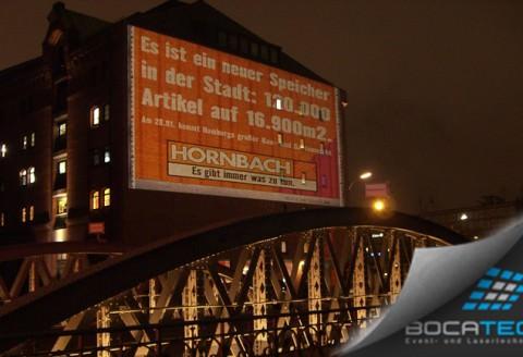 Werbung für Hornbacher mittels Beamer