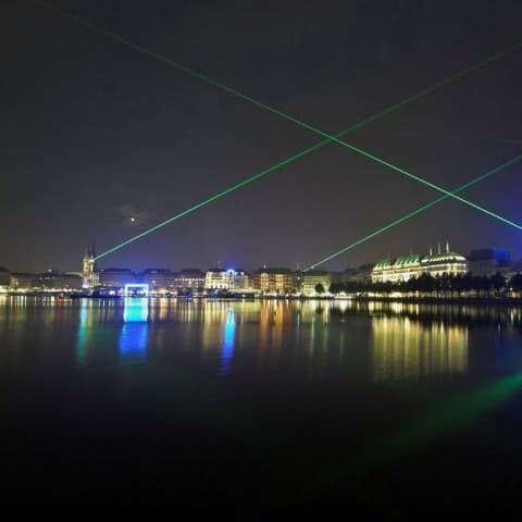 Lasershow an der Binnenalster