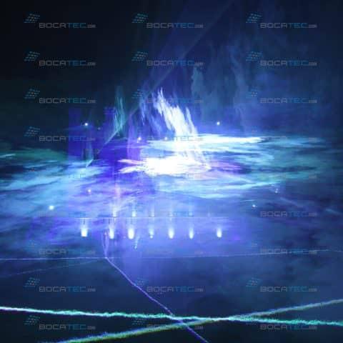 Blaue Lasershow mit Nebel