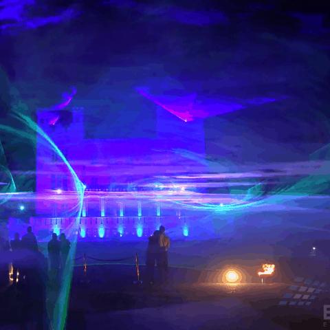 Lasershow mit Nebelwand