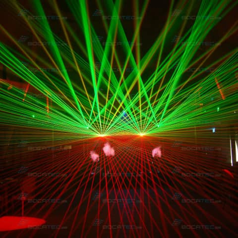 Green and Red massive Laserbeams