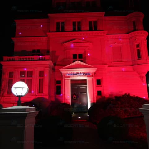 The villa Gustafsen was shining with laser beams
