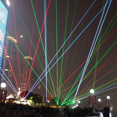 Probe der Lasershow