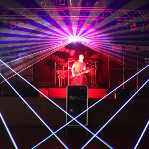 Multicolor laser show club installation