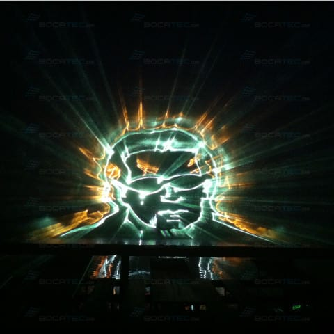 water projection from laser beams