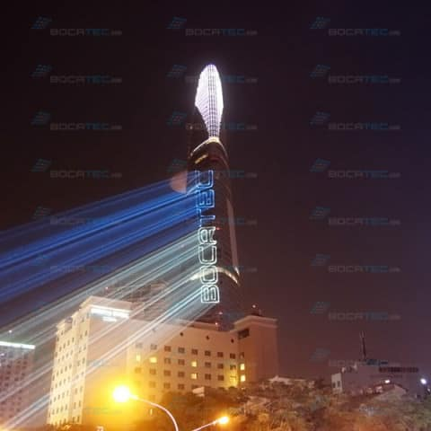 Bocatec Logo Laser Projection on Tower