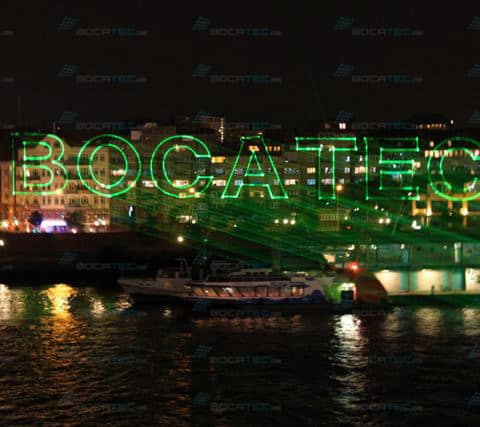 Bocatec branding on water screen
