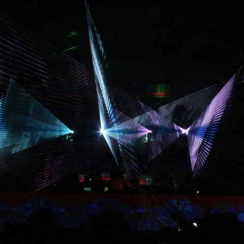Club laser show installation