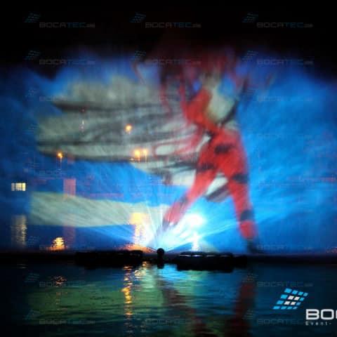 Kanjo Take Video projection on hydroshield