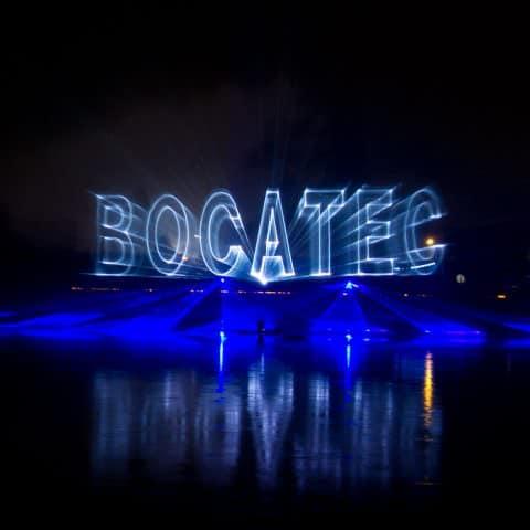 Wasserschildprojektion mit unserem Bocatec Logo