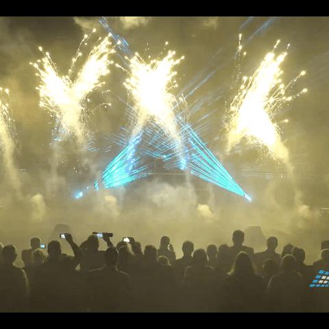 Umfangreiches Hochzeitsfeuerwerk mit Lasershow