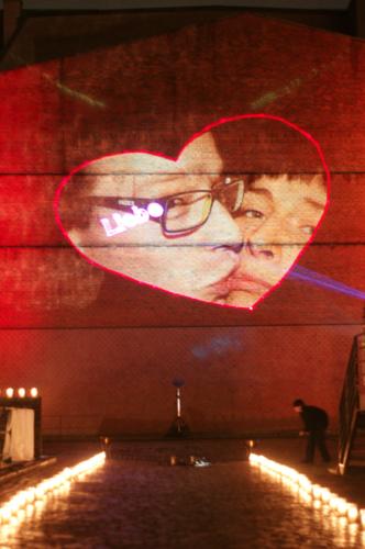 Laserprojektion Herz mit Foto