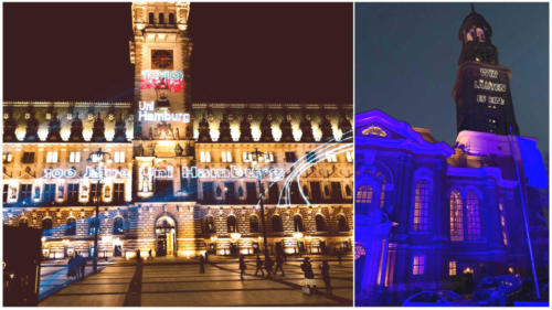 Laserprojektion auf das Hamburger Rathaus